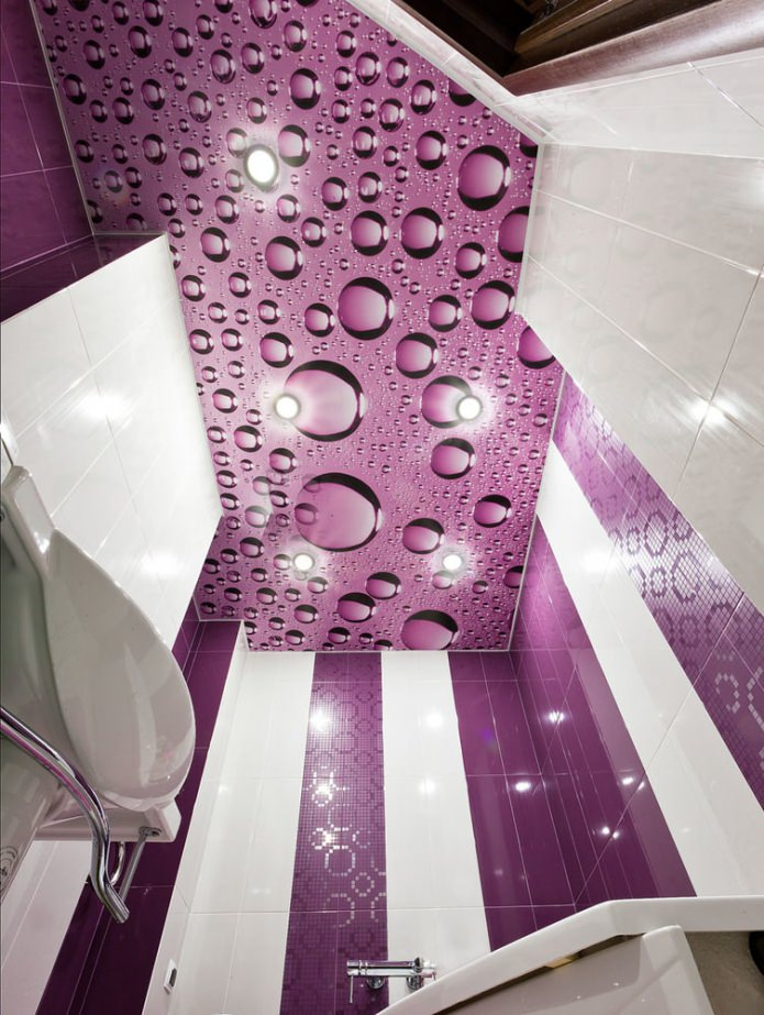 натяжной фиолетовый потолок