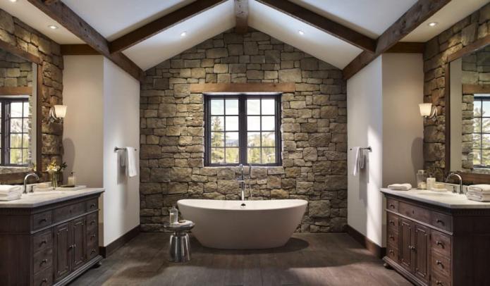 дикий камень в ванной