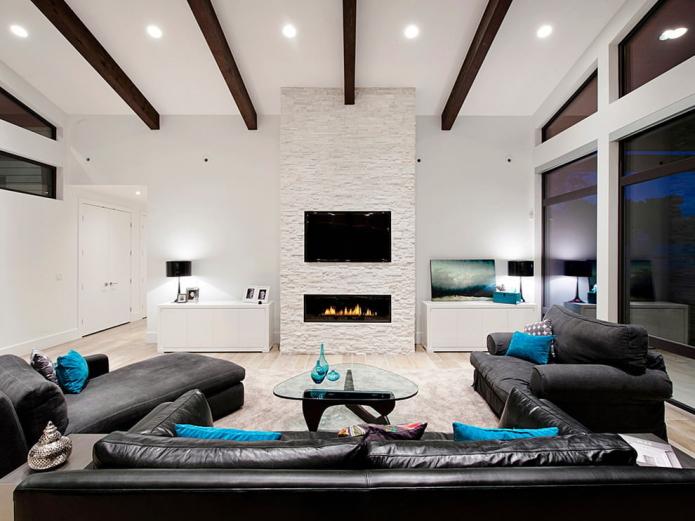 белый камень в интерьере гостиной