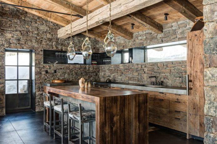 отделка камнем кухни в стиле шале