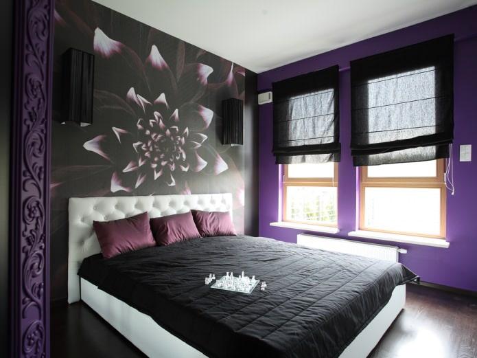 Черно-фиолетовый интерьер спальни