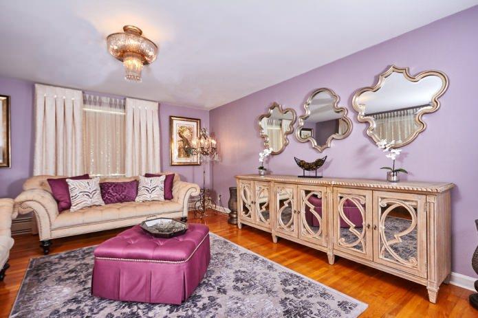 фиолетовые стены в гостиной