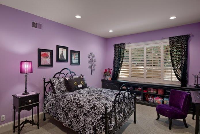 Черно-фиолетовый интерьер детской спальни