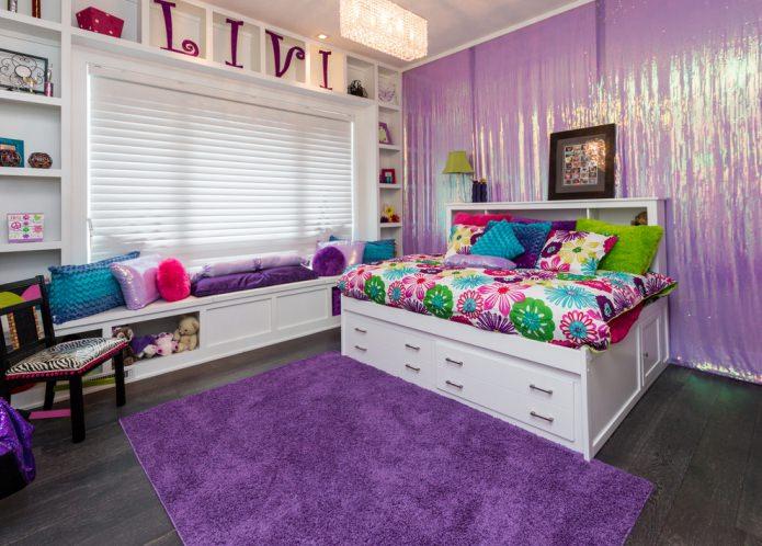 современная отделка детской в фиолетовом цвете