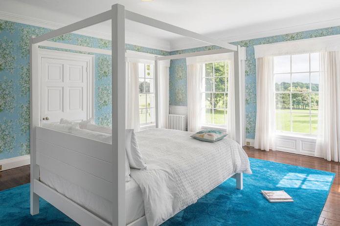 80 фото идей голубых обоев в интерьере спальни, кухни, гостиной и детской