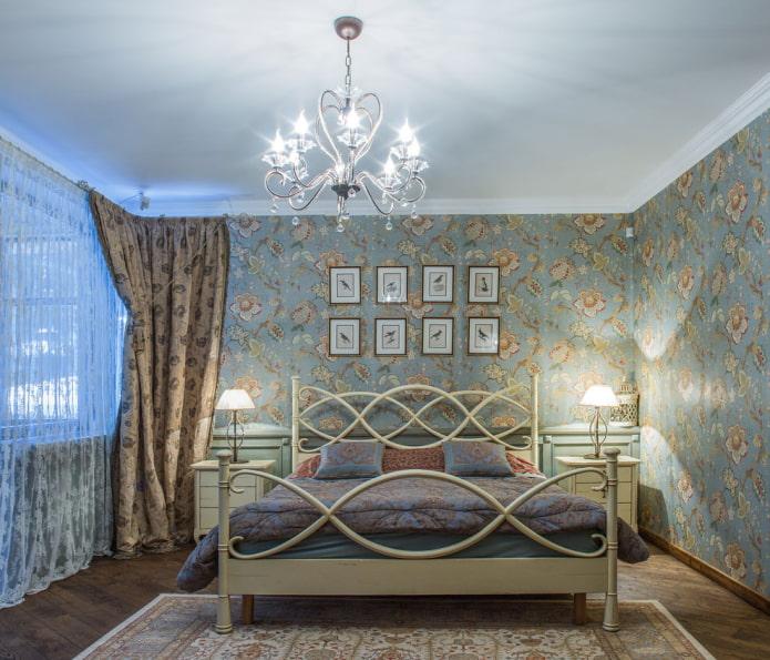 Сине-коричневые обои в спальне