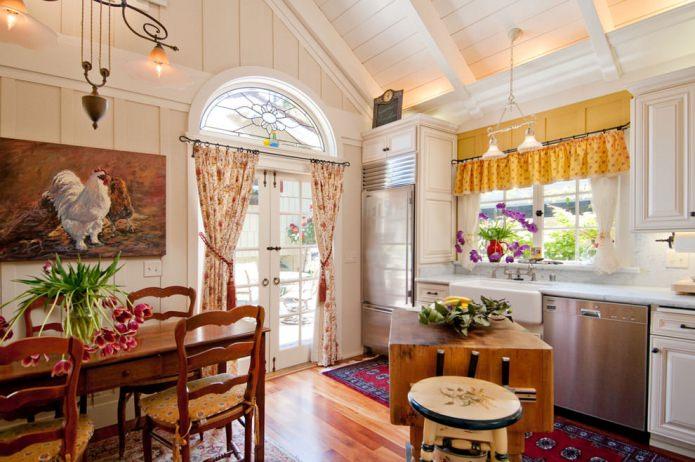 текстиль в интерьере кухни в деревенской стилистике кантри