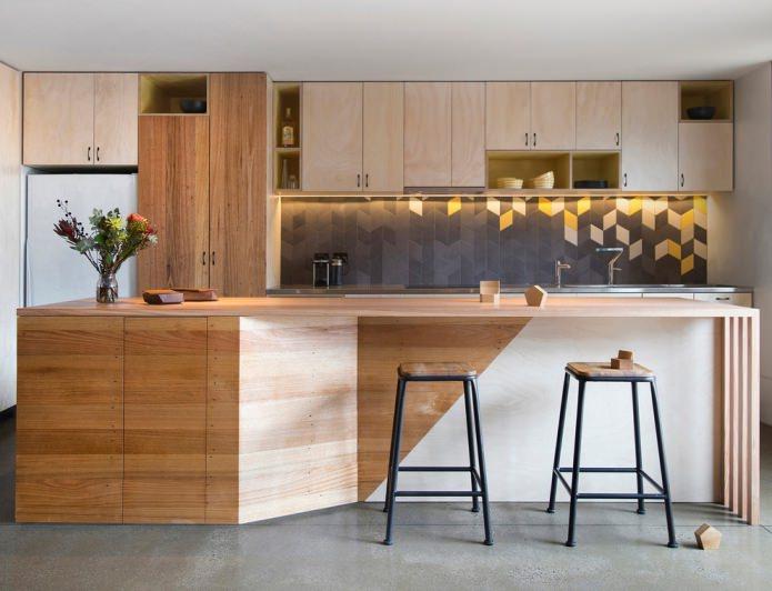 деревянные фасады в кухне