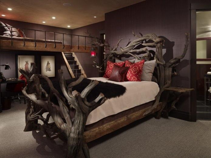 ветки в оформлении спальни