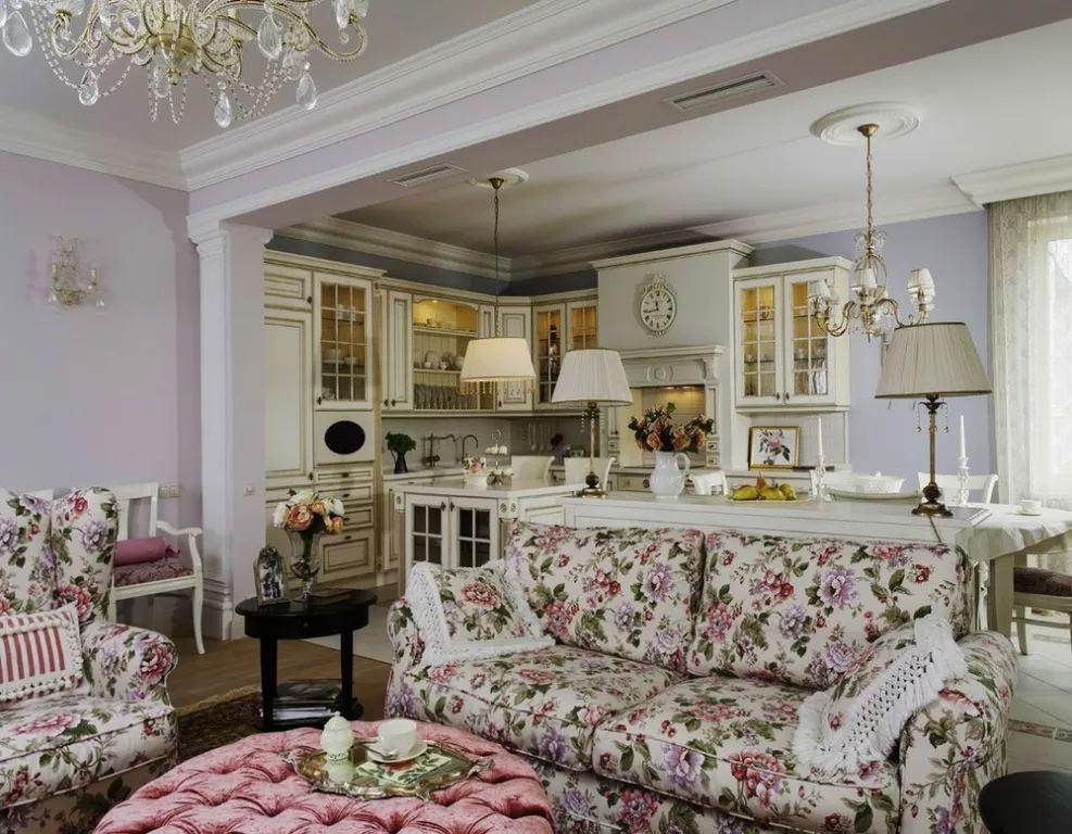 Стиль прованс в интерьере гостиной фото