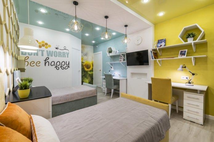 бирюзовый и желтый потолок в детской