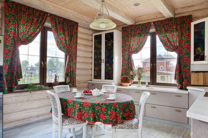 Красно-зеленая штора
