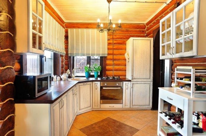 римские шторы в интерьере деревянной кухни