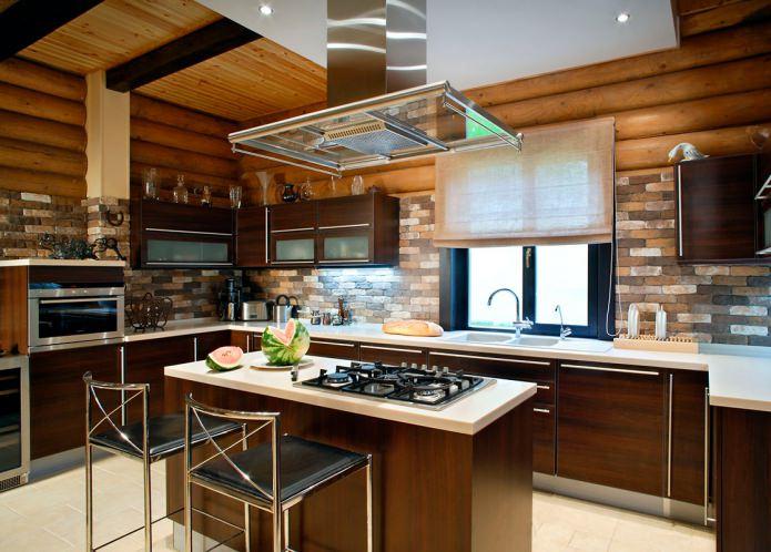 современный стиль в деревянном доме