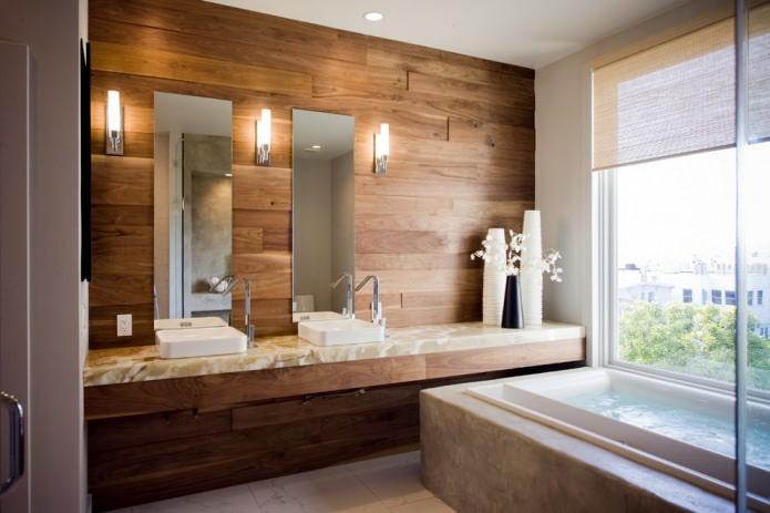 деревянная отделка стен в ванной