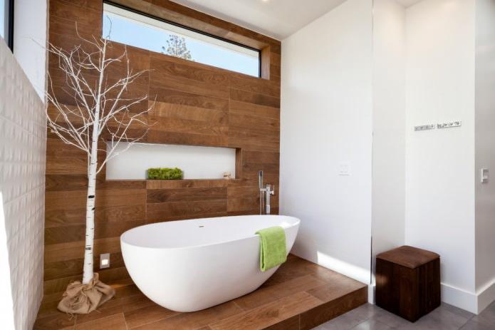 отделка деревом ванной