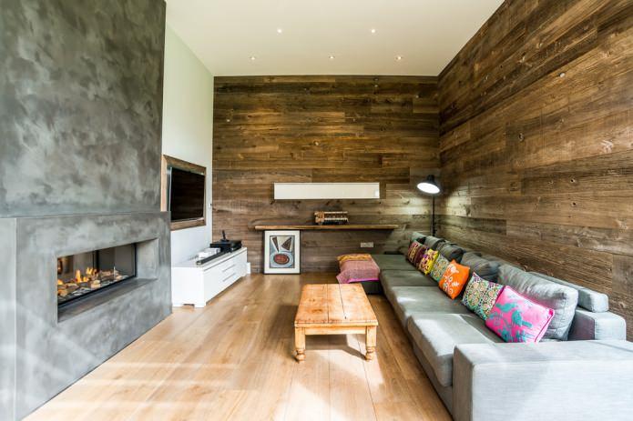 интерьер гостиной в эко-стиле
