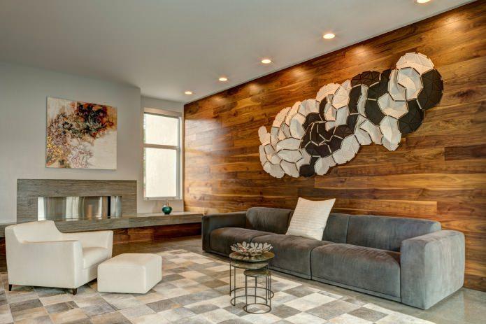 деревянные панели на стене в гостиной