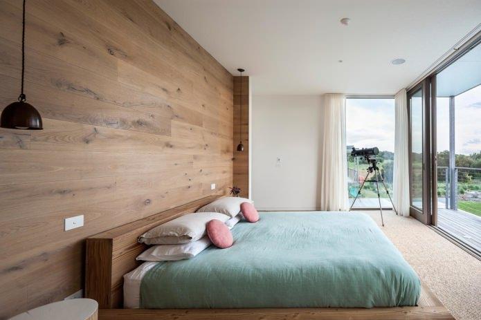 деревянные панели на стене в спальне