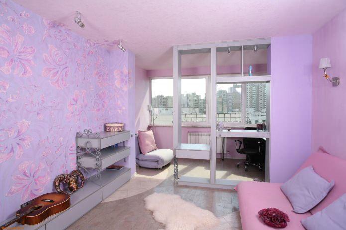 Лавандово-розовая гостиная
