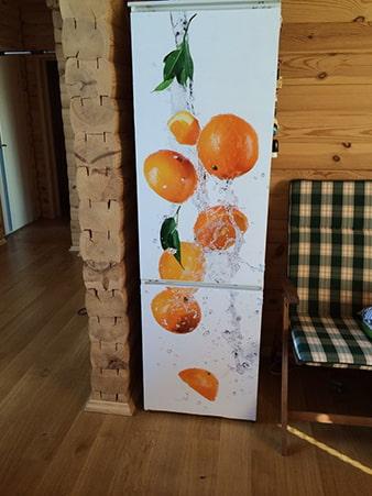 обои с рисунком фруктов на холодильник