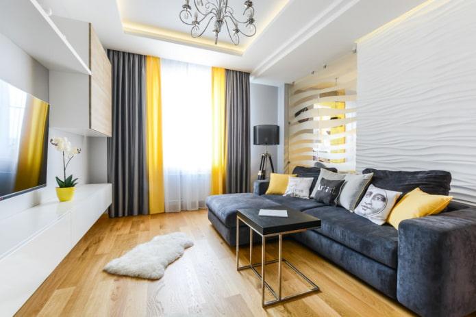 серые и золотые шторы в гостиной