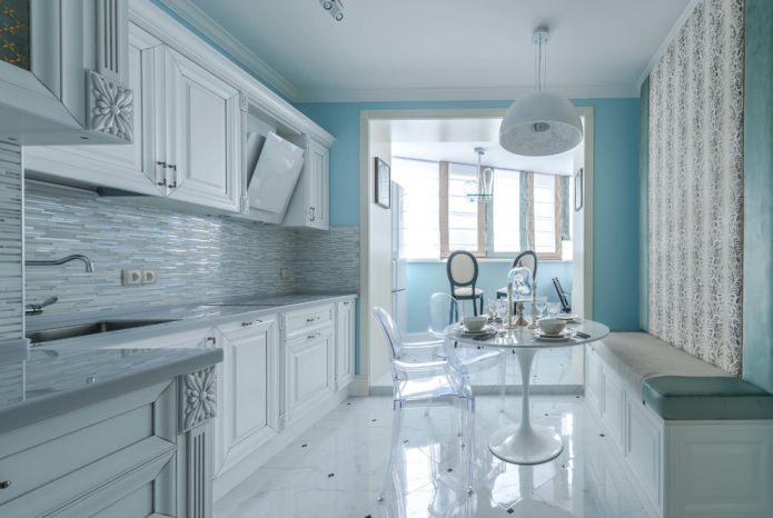 светлая плитка в интерьере кухни