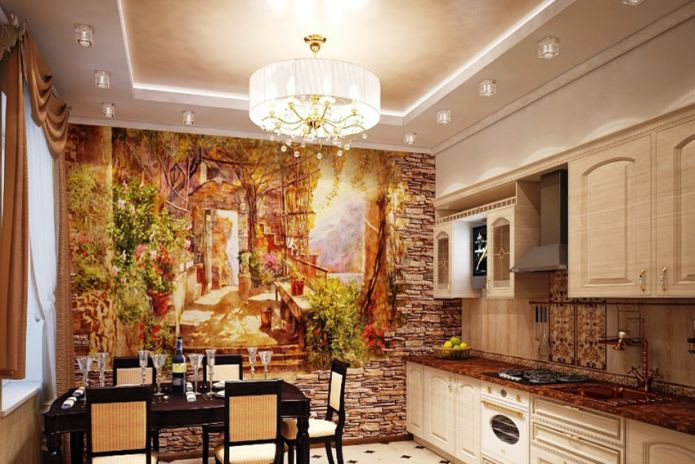фреска на каменной акцентной стене кухни