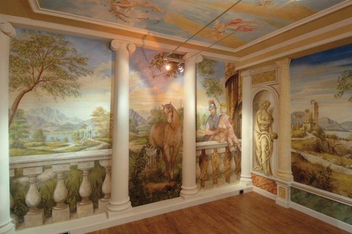 фреска в интерьере