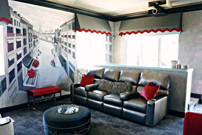 фреска в современной гостиной