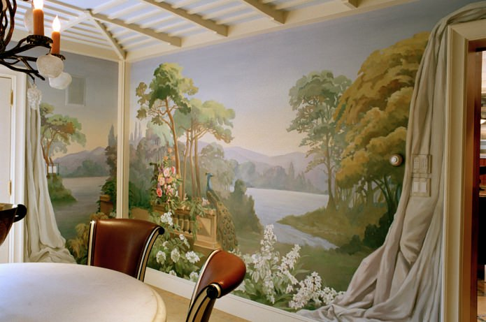 Расположение фрески на стене