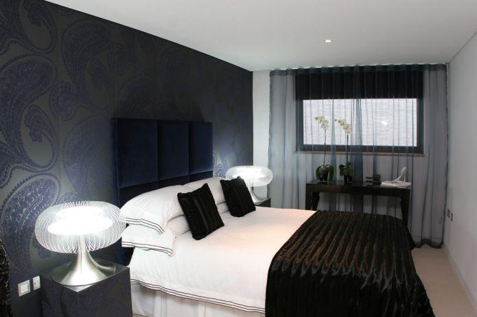черный тюль в спальне