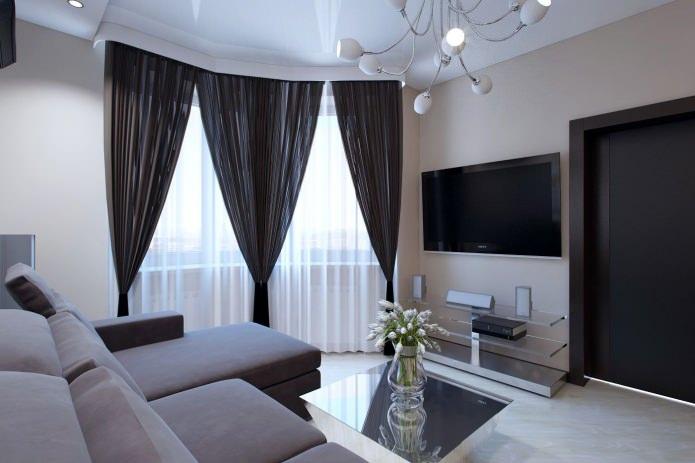 Нитяная штора и тюль в гостиной
