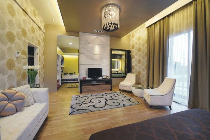 современный интерьер гостиной в зеленой гамме с классическими однотонными шторами