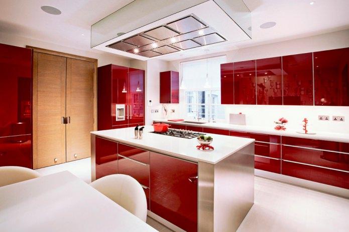современная кухня в красно-белых тонах
