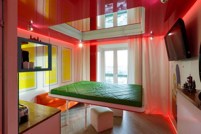 глянцевый красный двухуровневый натяжной потолок