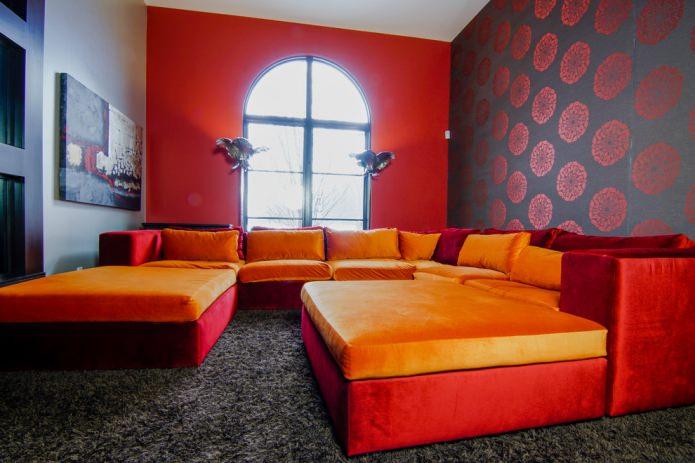 Красно-оранжевый дизайн гостиной