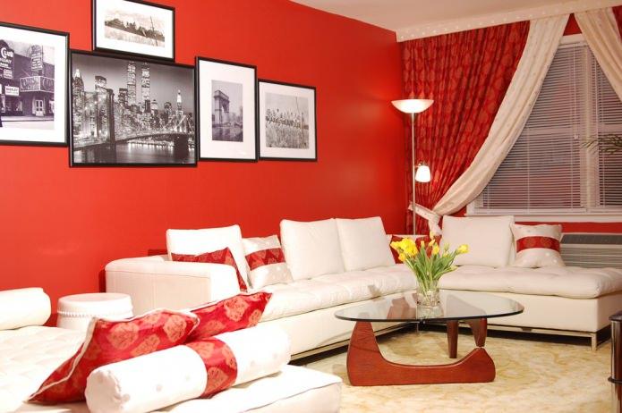 современная красно-белая гостиная