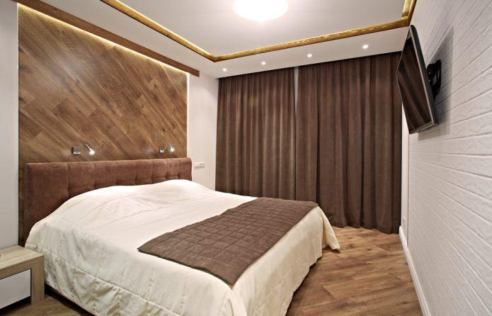 Коричневые шторы в современной спальне