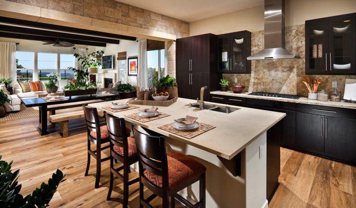 камень в дизайне кухни