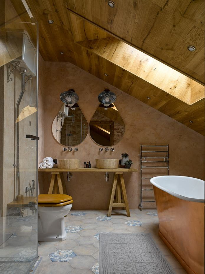 деревянная отделка потолка в ванной