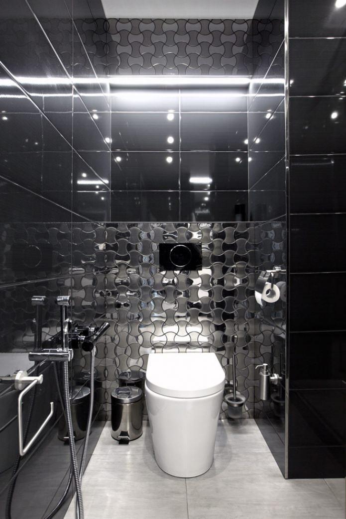 туалет в черных тонах