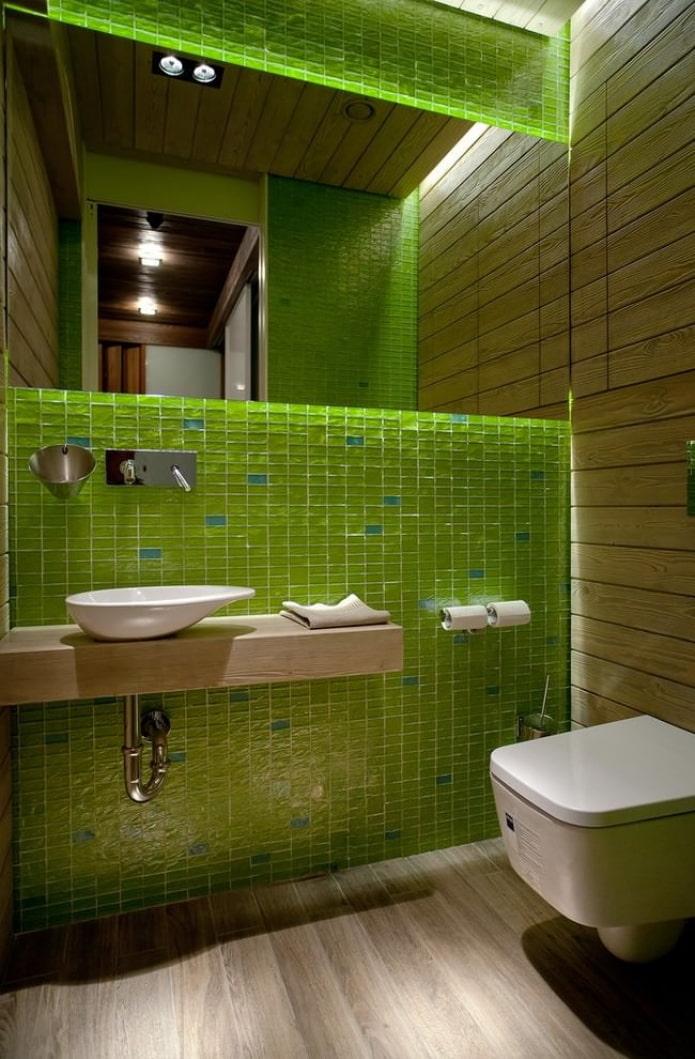 зеленая мозаика в санузле