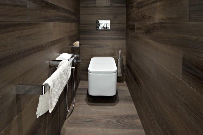 Ламинат на стене в туалете