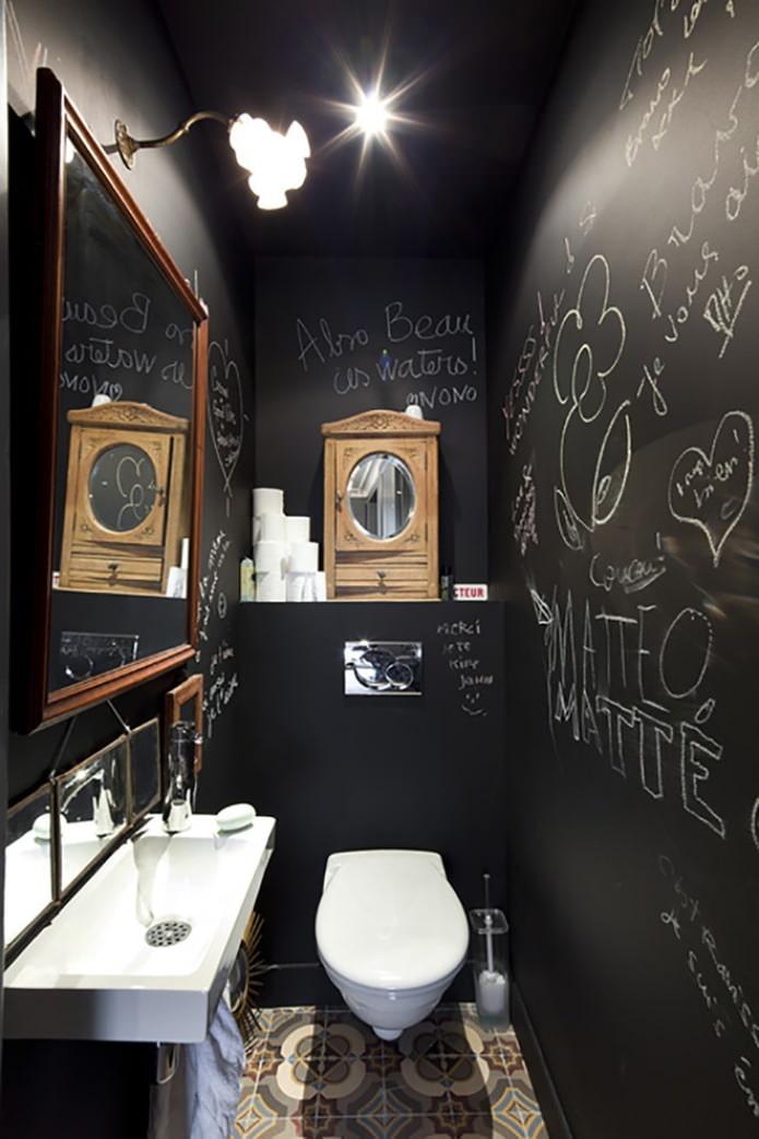 интерьер черного туалета