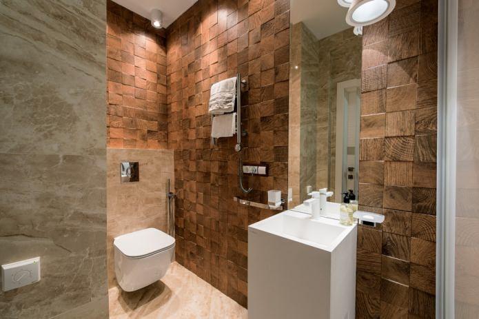современный небольшой санузел с деревянной отделкой стен
