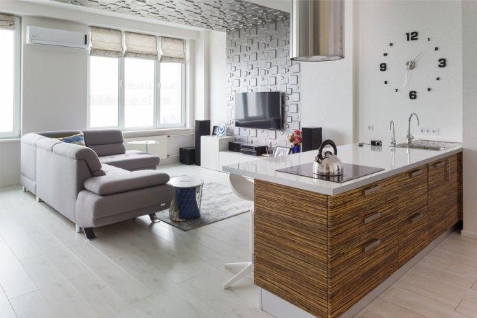 Светло-серый пол в интерьере кухни-гостиной