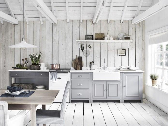 белое напольное покрытие в интерьере в стиле прованс