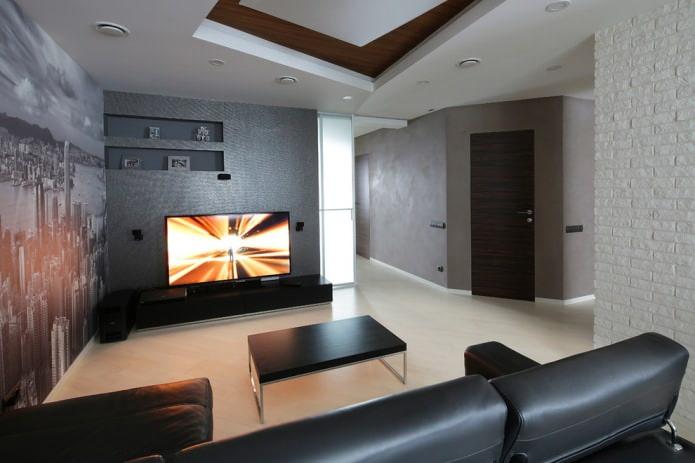 черная мебель и темно-коричневая дверь