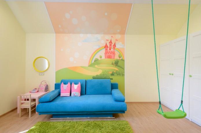 интерьер детской комнаты девочки с фотообоями